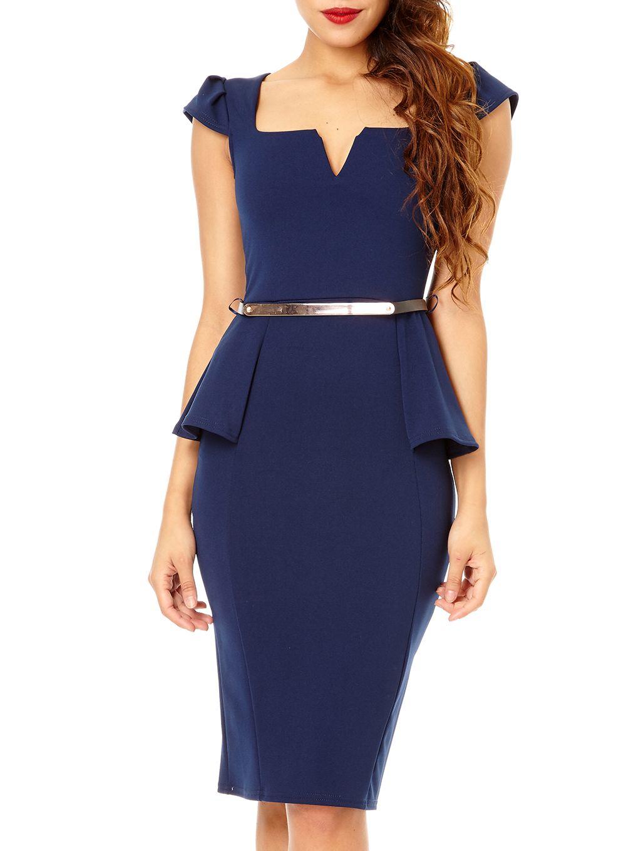 Lyst Quiz Navy Marcella Belt Peplum Dress In Blue