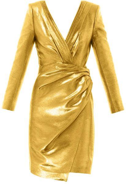 Saint Laurent Metallic Lam 233 Ruched Wrap Dress In Gold