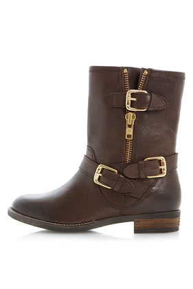 TOPSHOP Robbin Side Zip And Buckle Trim Biker Boots By Dune in Brown