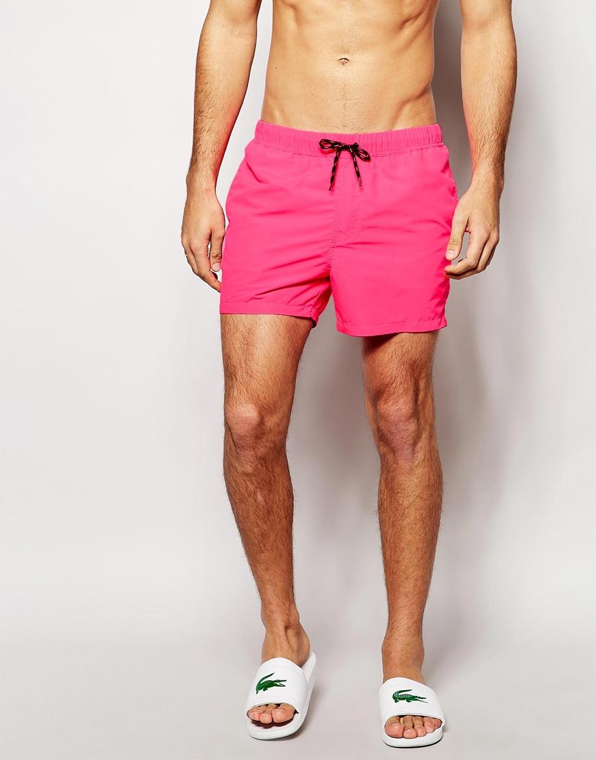 05c4af50e7 ASOS Swim Shorts In Short Length in Pink for Men - Lyst