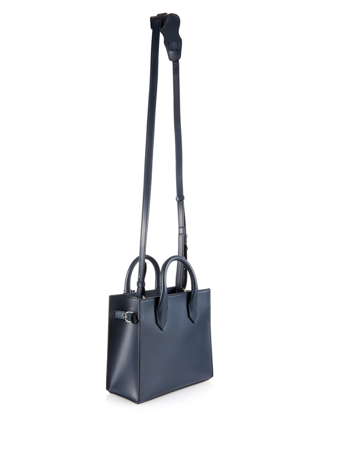 Balenciaga Leather Nude Mini All Afternoon Cross-Body Bag in Navy (Blue)