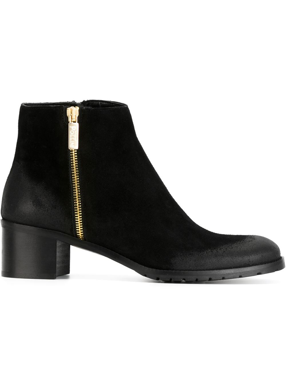 Black Suede Chunky Heel Boots