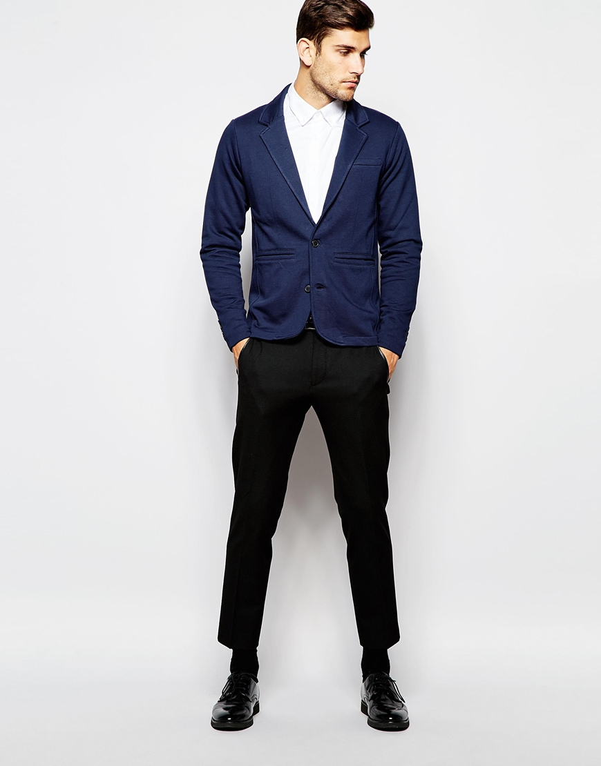 selected elected homme jersey blazer in slim fit in blue. Black Bedroom Furniture Sets. Home Design Ideas