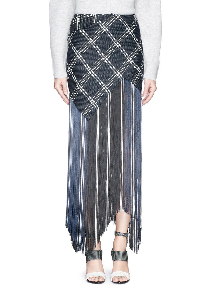 proenza schouler plaid hemp basketweave fringe maxi skirt