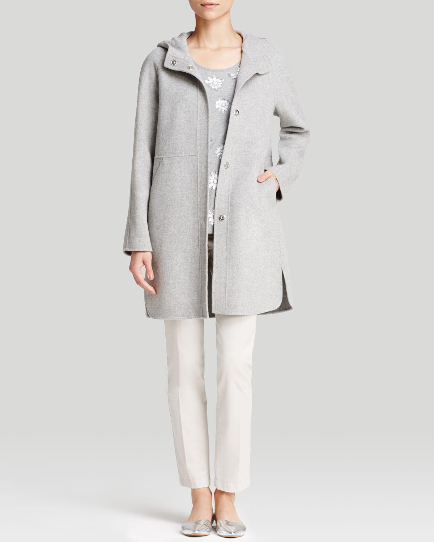 weekend by maxmara coat celia hooded in gray light grey. Black Bedroom Furniture Sets. Home Design Ideas