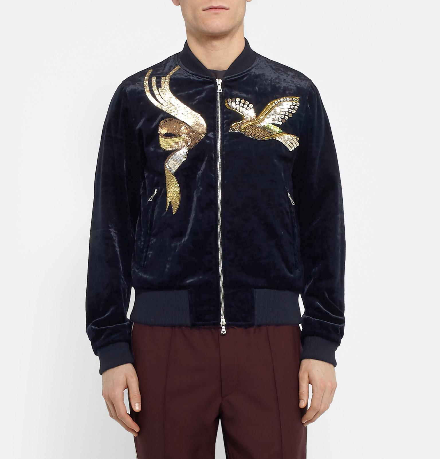 Dries Van Noten Embroidered Velvet Bomber Jacket In Blue For Men - Lyst