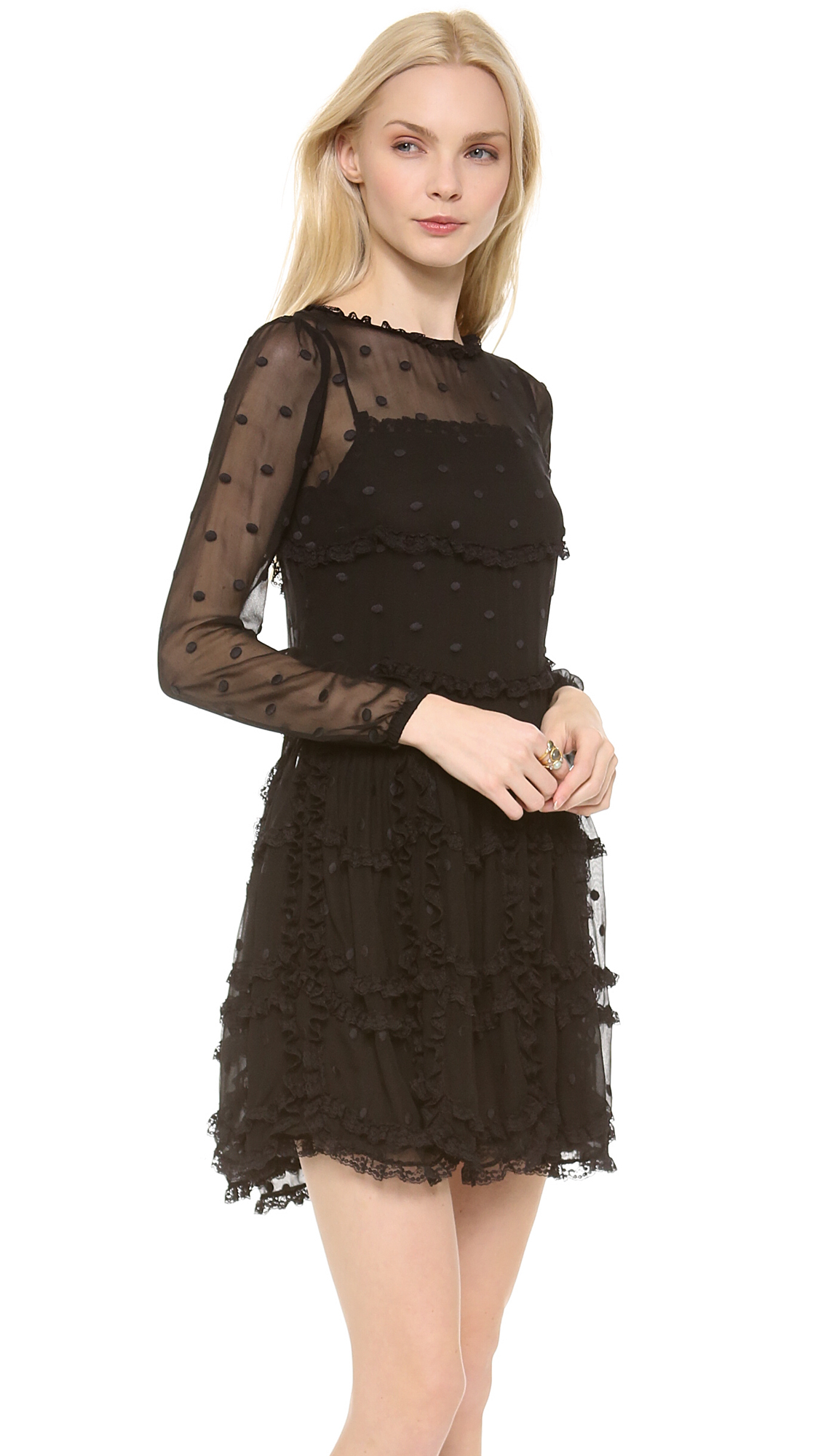 Red Valentino Polka Dot Lace Dress In Black Lyst