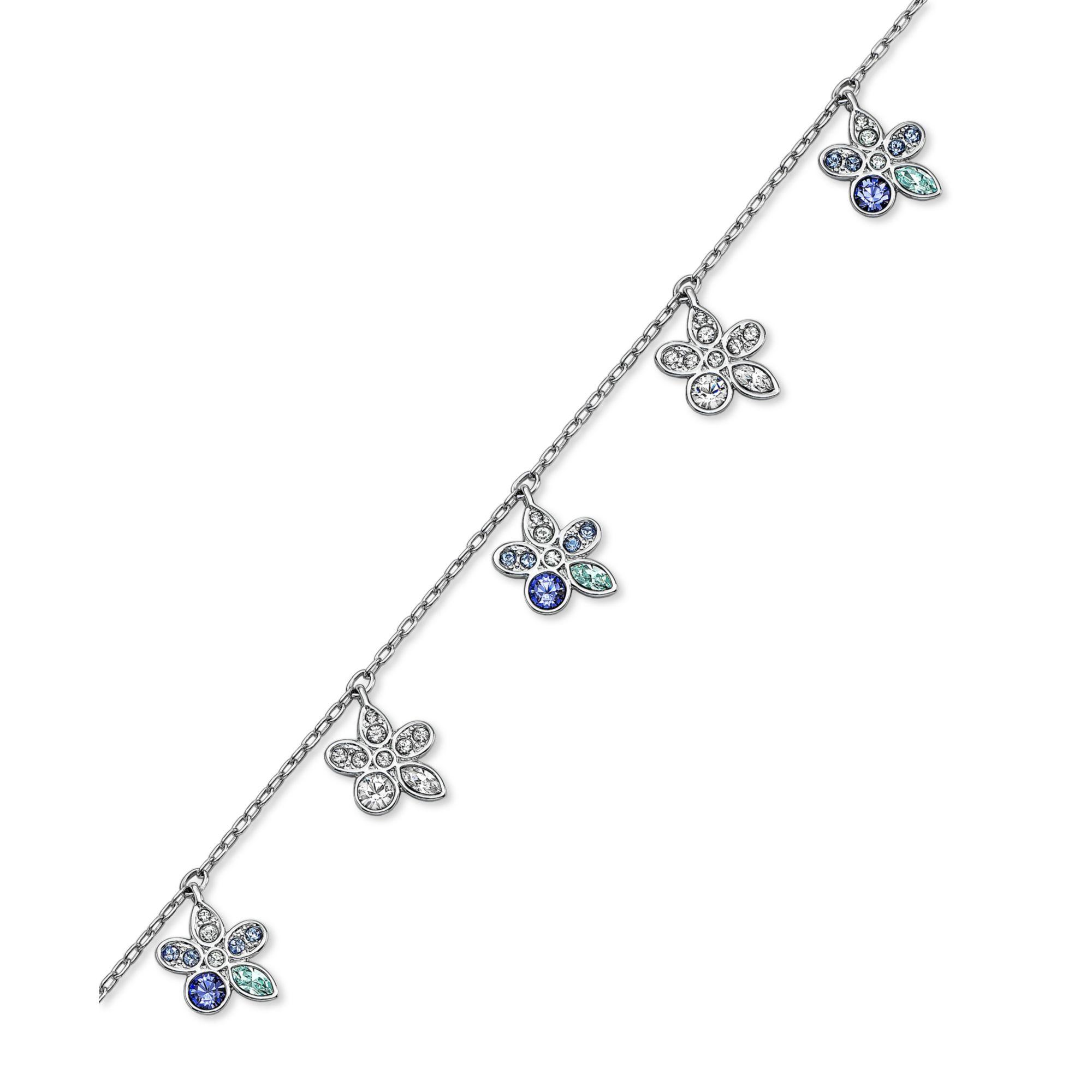 Swarovski White Rhodiumplated Crystal Pave Flower Charm Bracelet