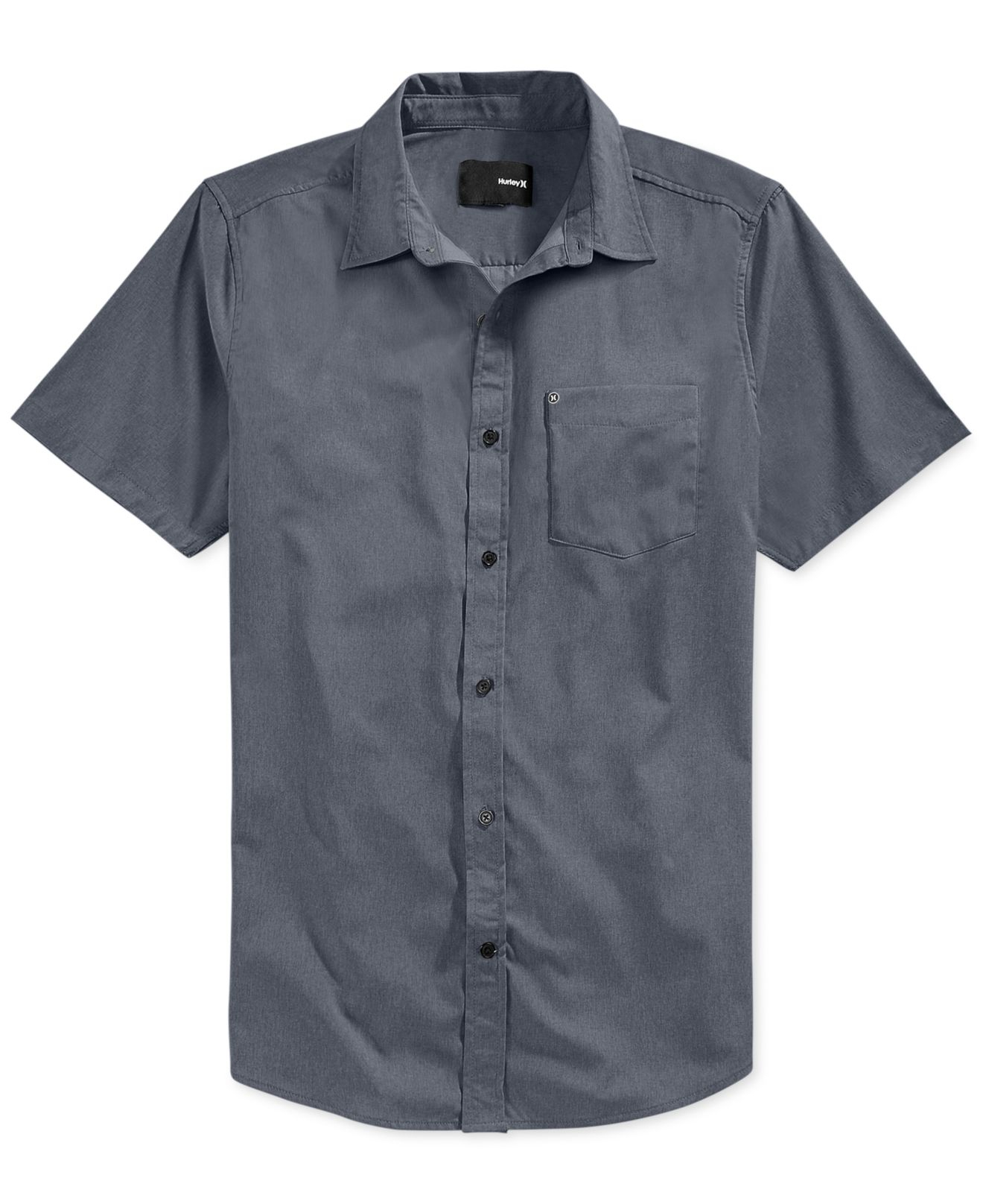 hurley dri fit rogan button up shirt in gray for men lyst