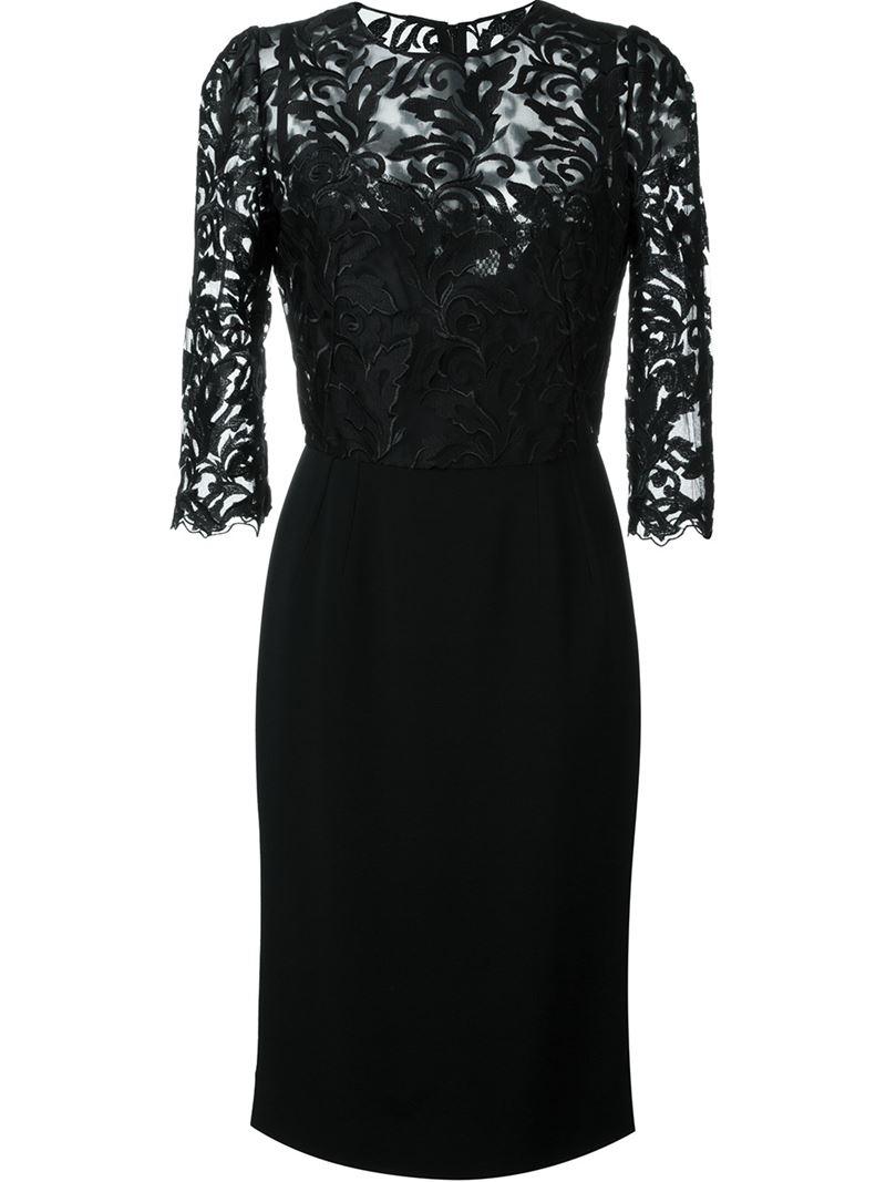 Dolce & gabbana Lace Top Dress in Black