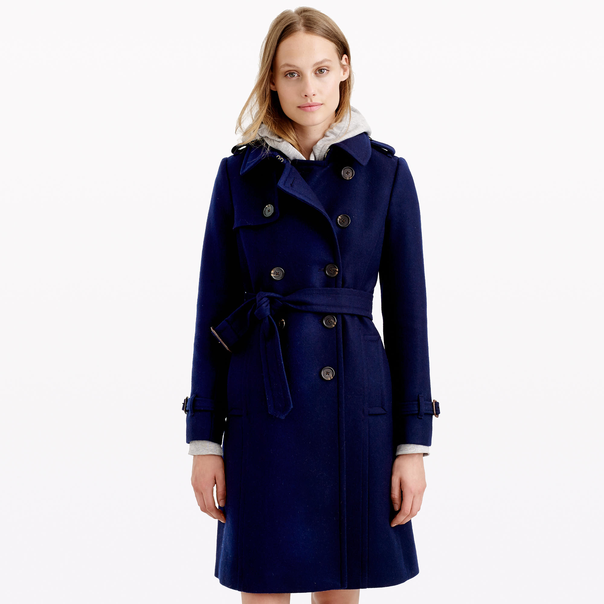 J.crew Icon Trench Coat In Wool-cashmere in Blue | Lyst