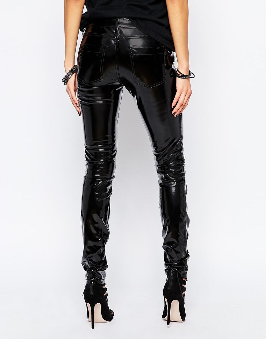 Tripp Nyc Vinyl Skinny Trousers In Patent Black In Black