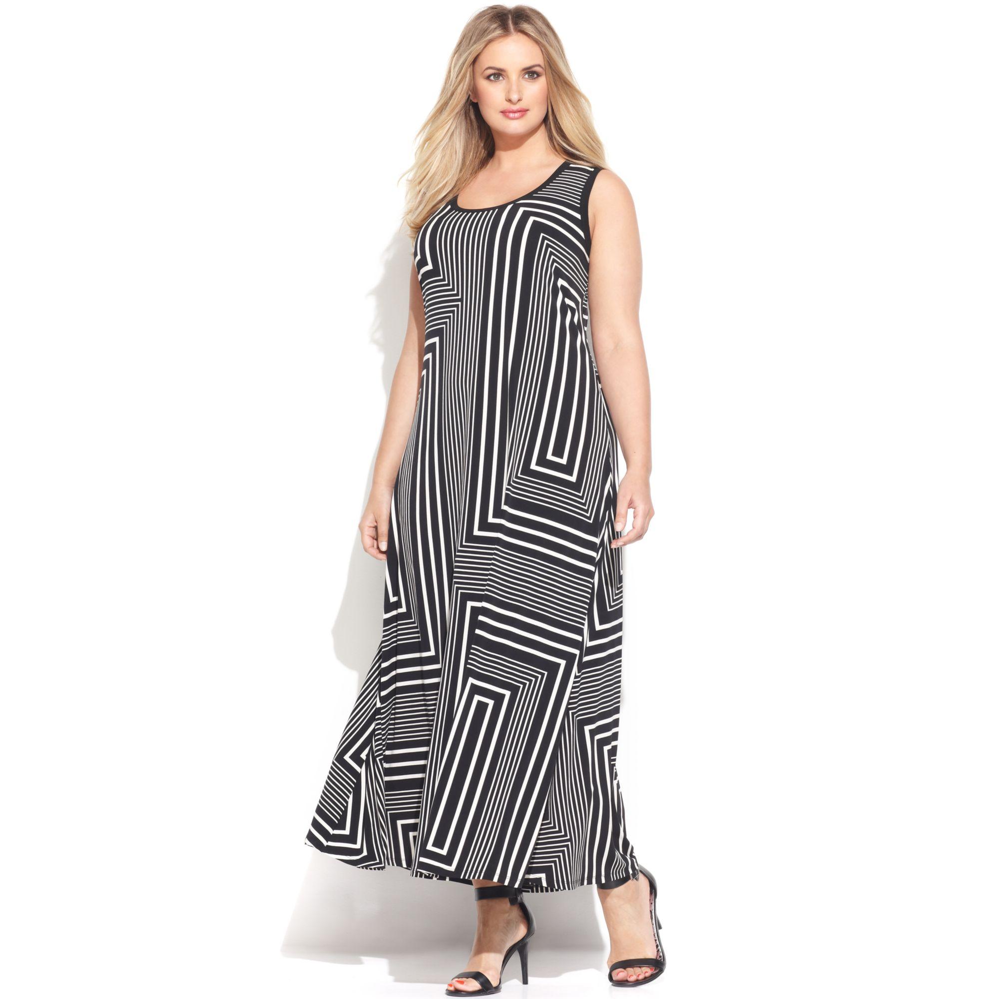 Calvin Klein Plus Size Sleeveless Printed Maxi Dress In