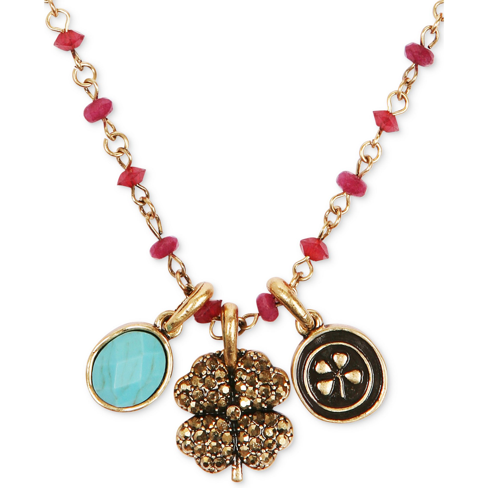 Lyst Lucky Brand Goldtone Red Bead Clover Charm Necklace