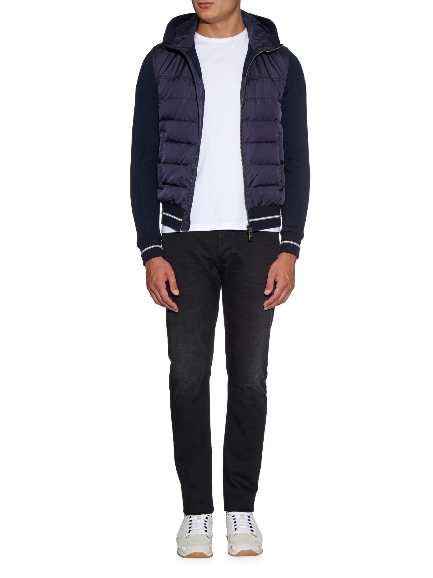 Moncler Maglia Quilted-down Hooded Sweater in Blue for Men | Lyst