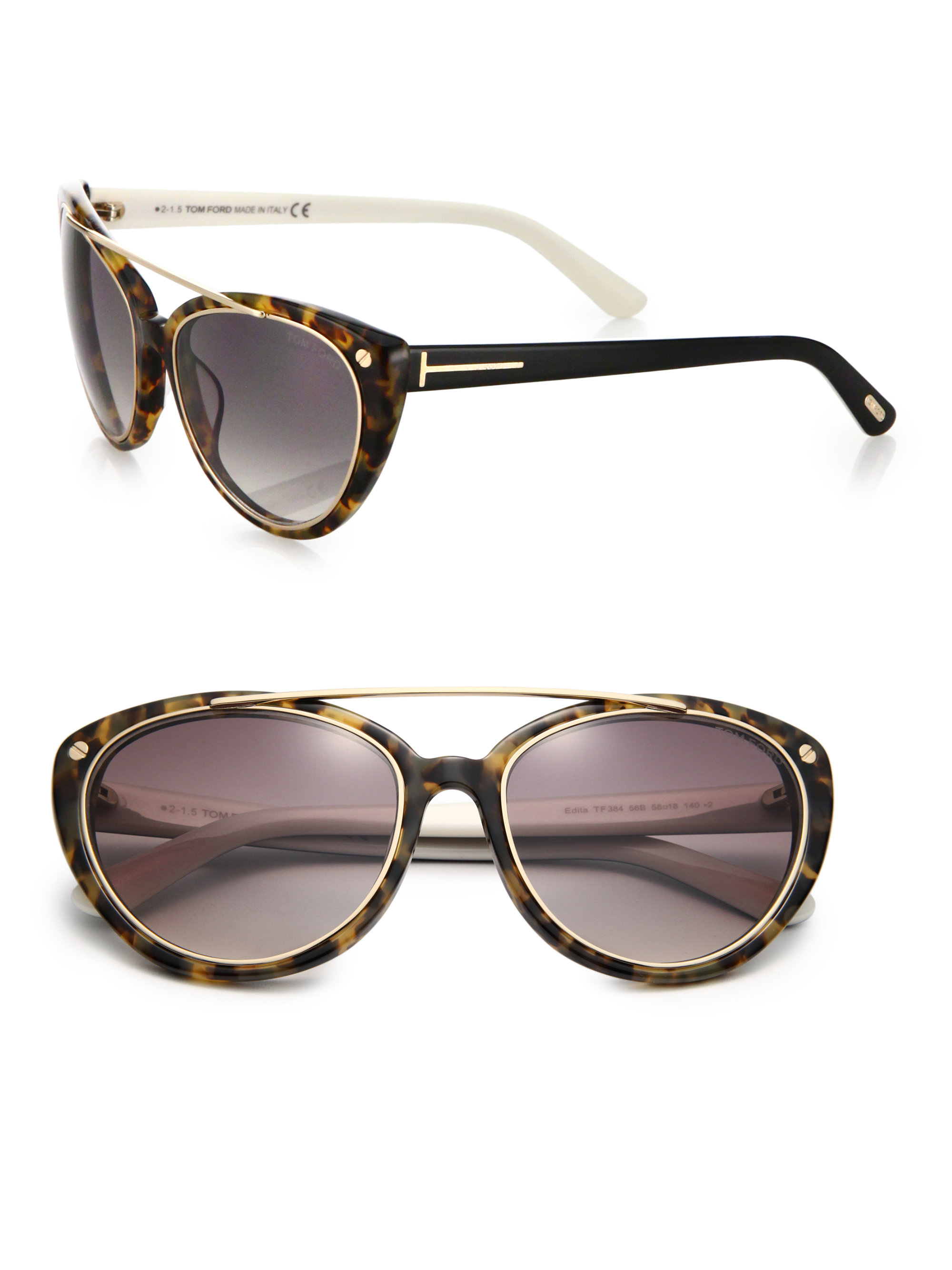 2f32fa48dd28e Lyst - Tom Ford 58mm Cat s-eye Sunglasses in Brown