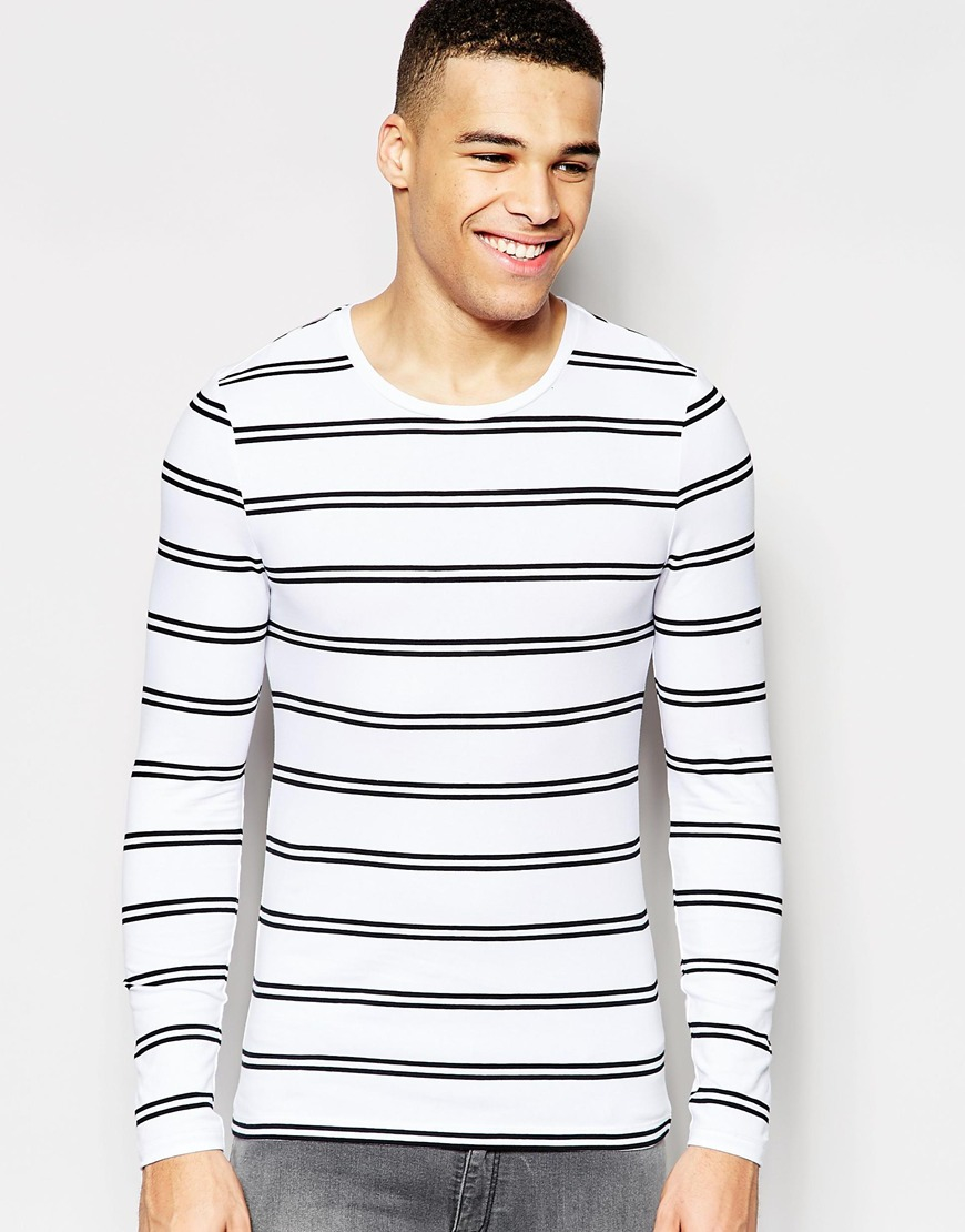 Lyst Asos Muscle Long Sleeve T Shirt With Stripe In Gray