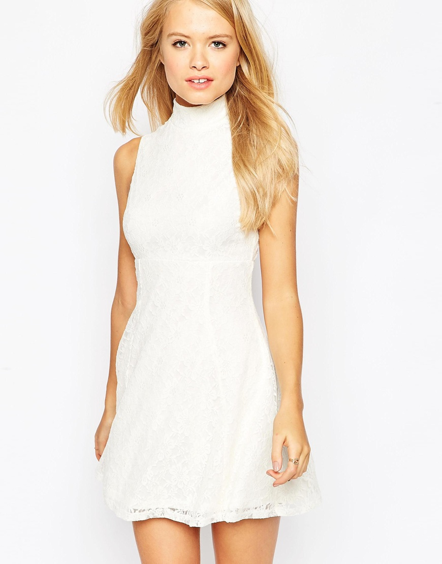 6191f73ae773 Lyst - ASOS Sleeveless Lace Skater Dress in Natural