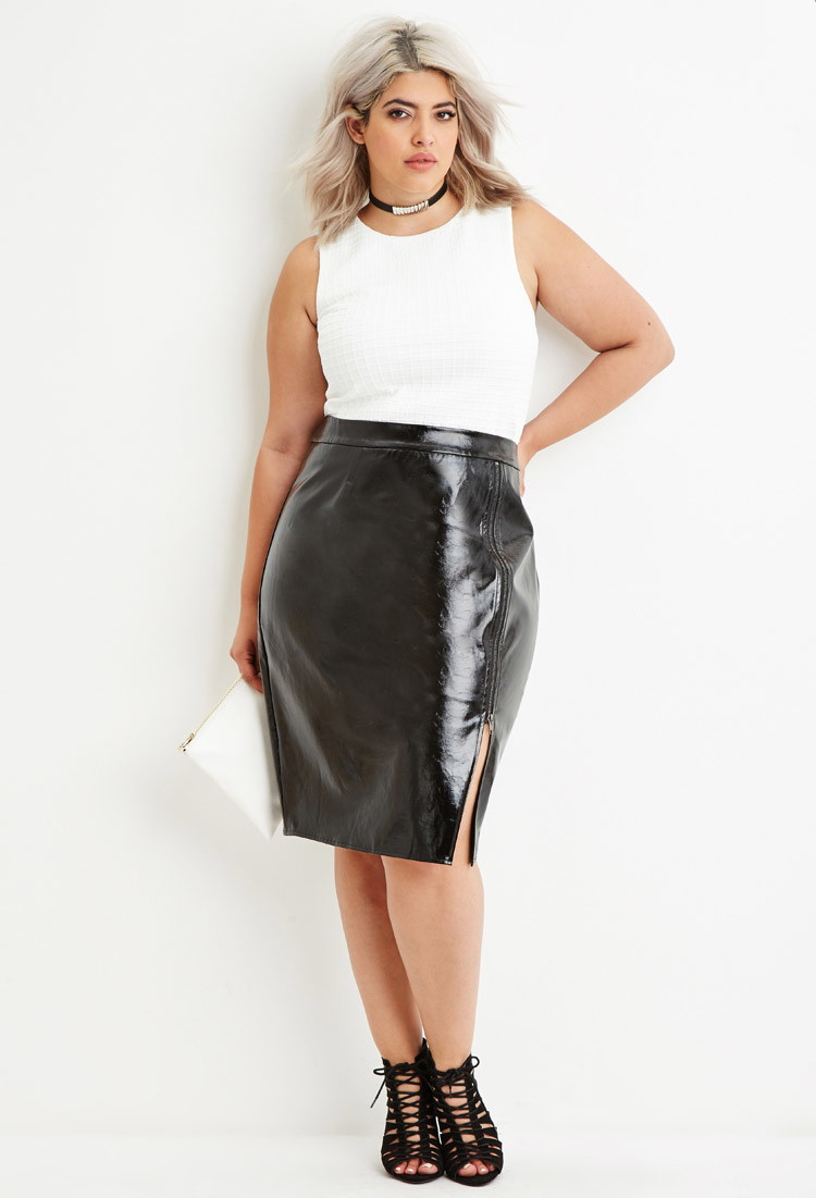 forever 21 plus size faux leather zipped skirt in black lyst