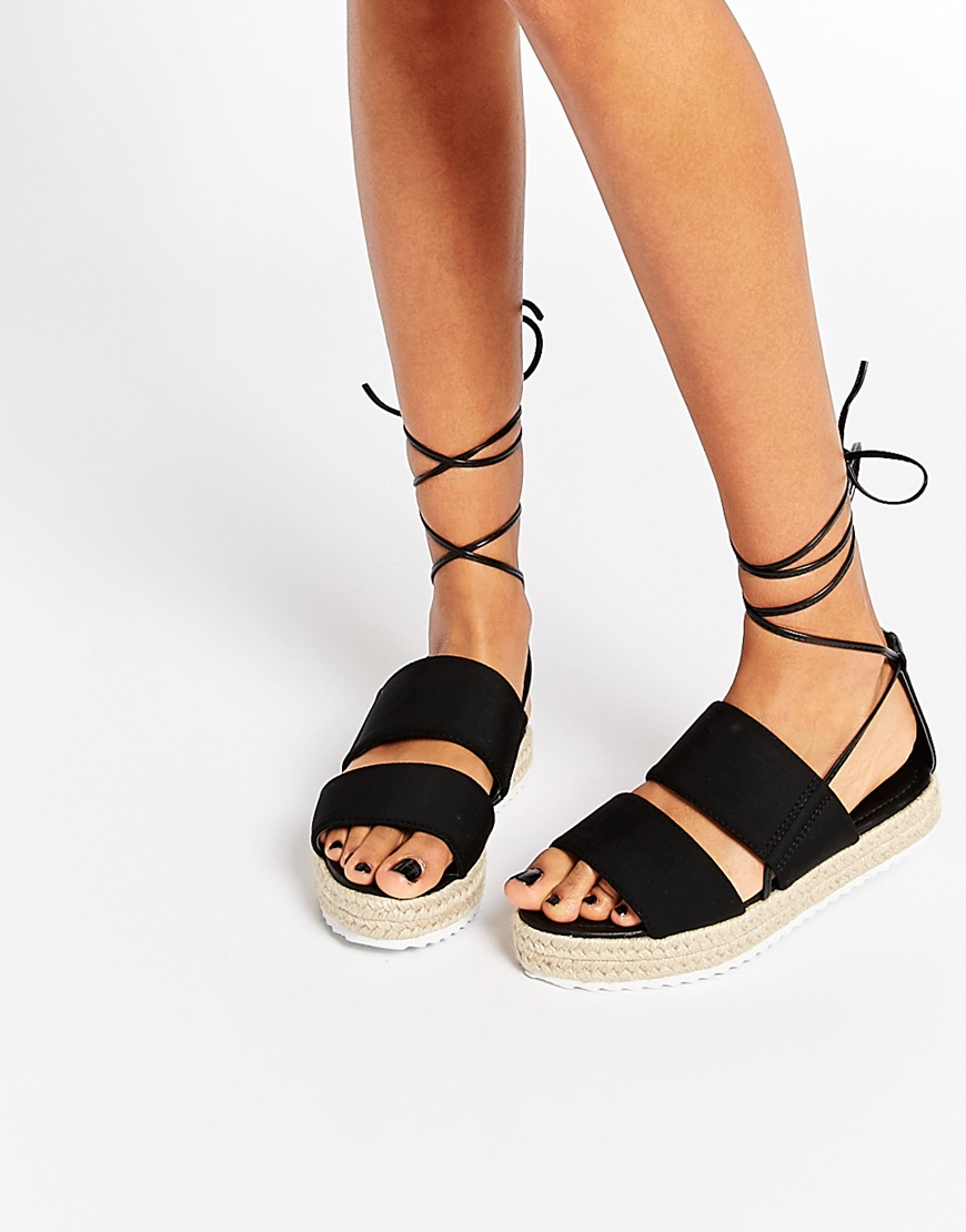 lyst asos jeopardy tie leg espadrille sandals in black. Black Bedroom Furniture Sets. Home Design Ideas