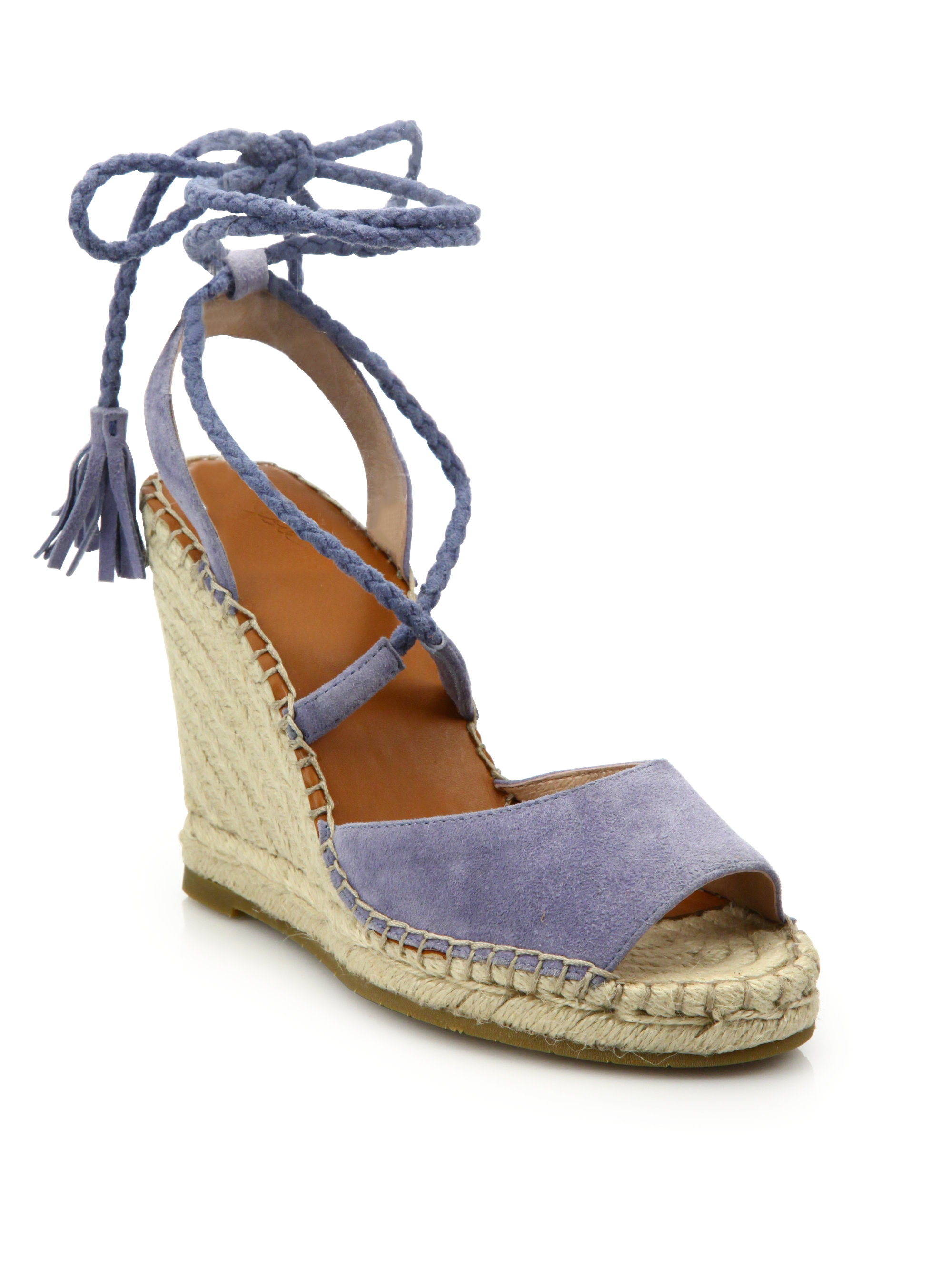 joie phyllis suede lace up espadrille wedge sandals in