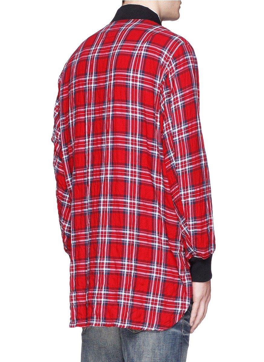 R13 39 flight 39 tartan plaid shirt jacket in red for men lyst for Plaid shirt jacket mens