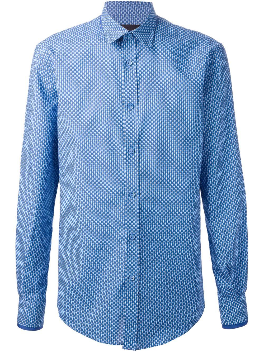 Alexander mcqueen skull print shirt in blue for men lyst for Alexander mcqueen shirt men