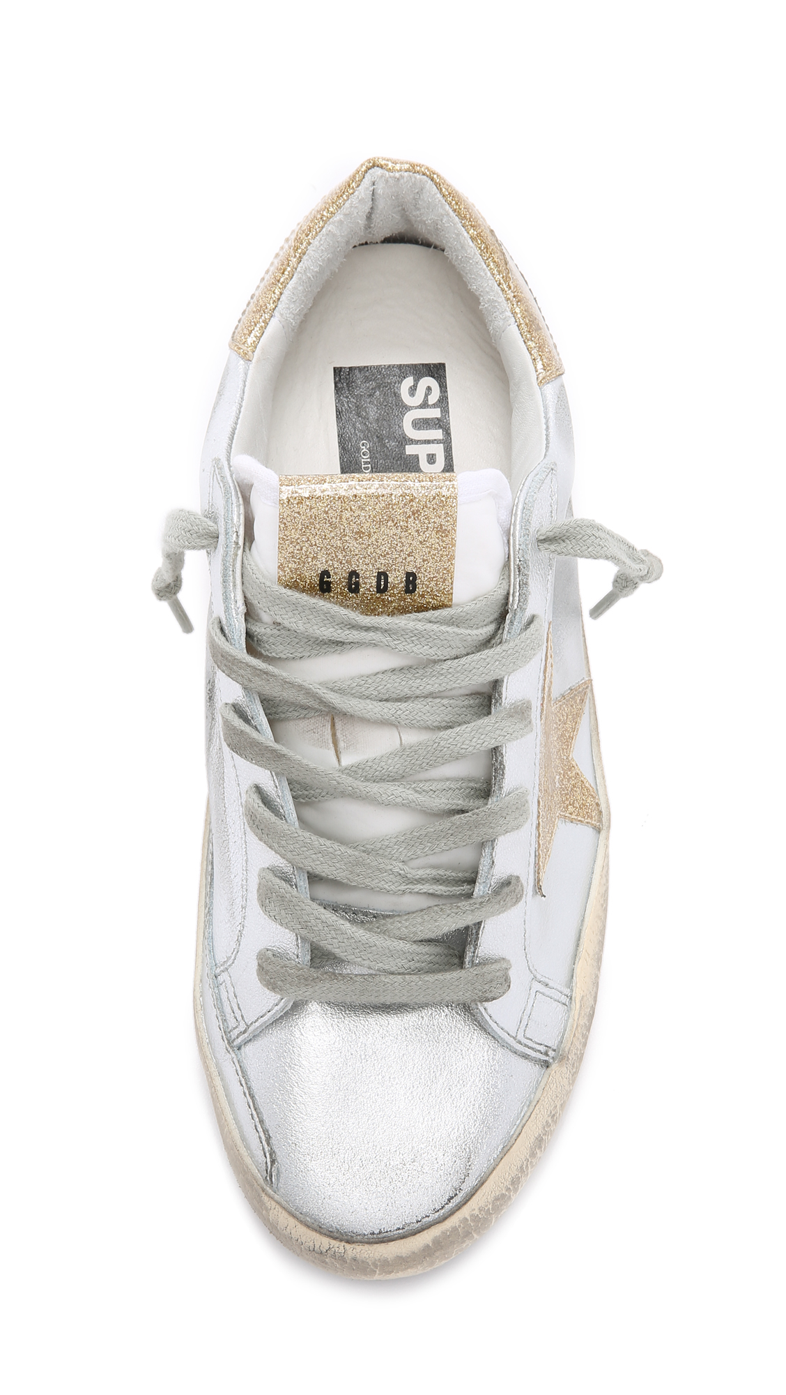 Golden Goose Deluxe Brand Superstar Leather Low-Top Sneakers in Silver/Gold (Metallic)