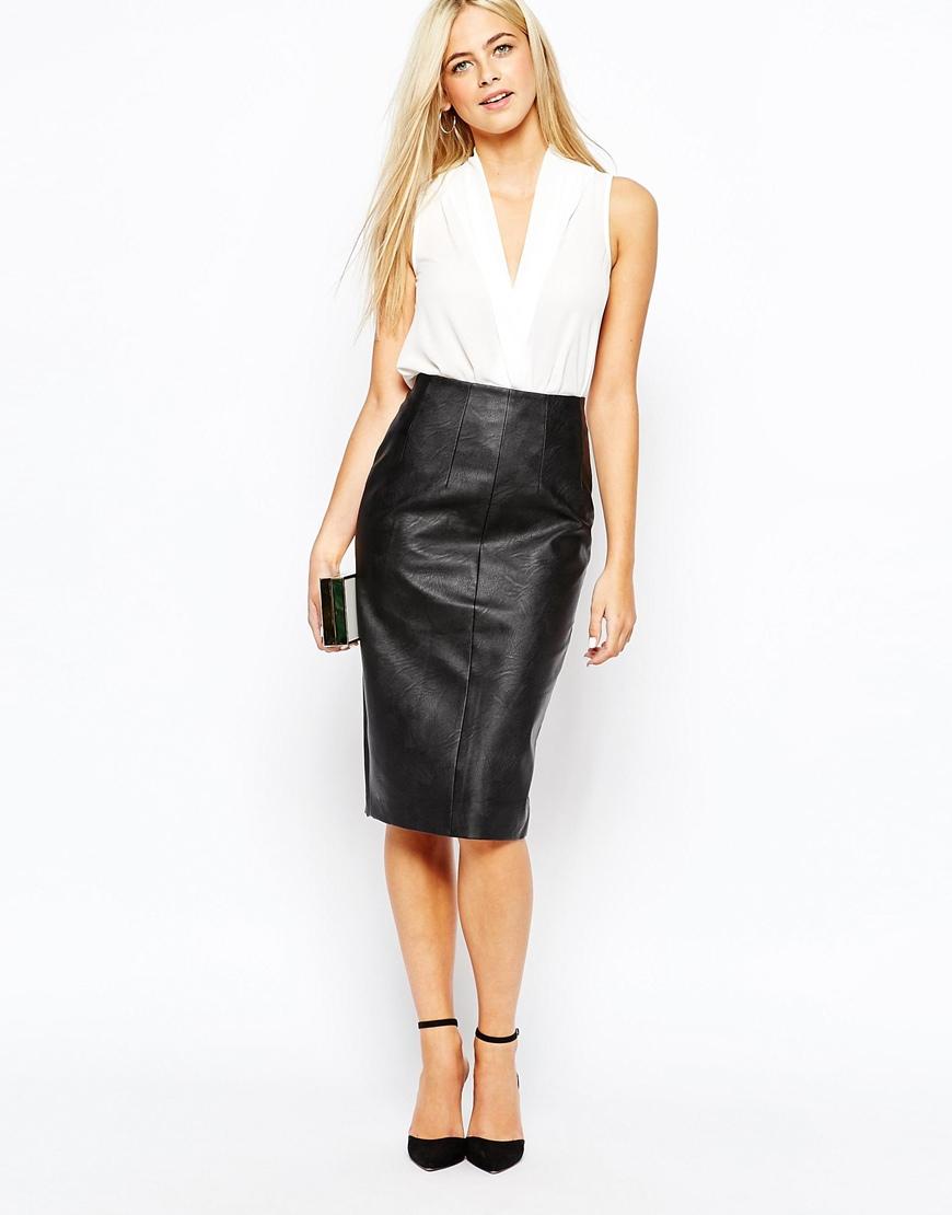 Missguided Faux Leather Seam Detail Midi Skirt Khaki in