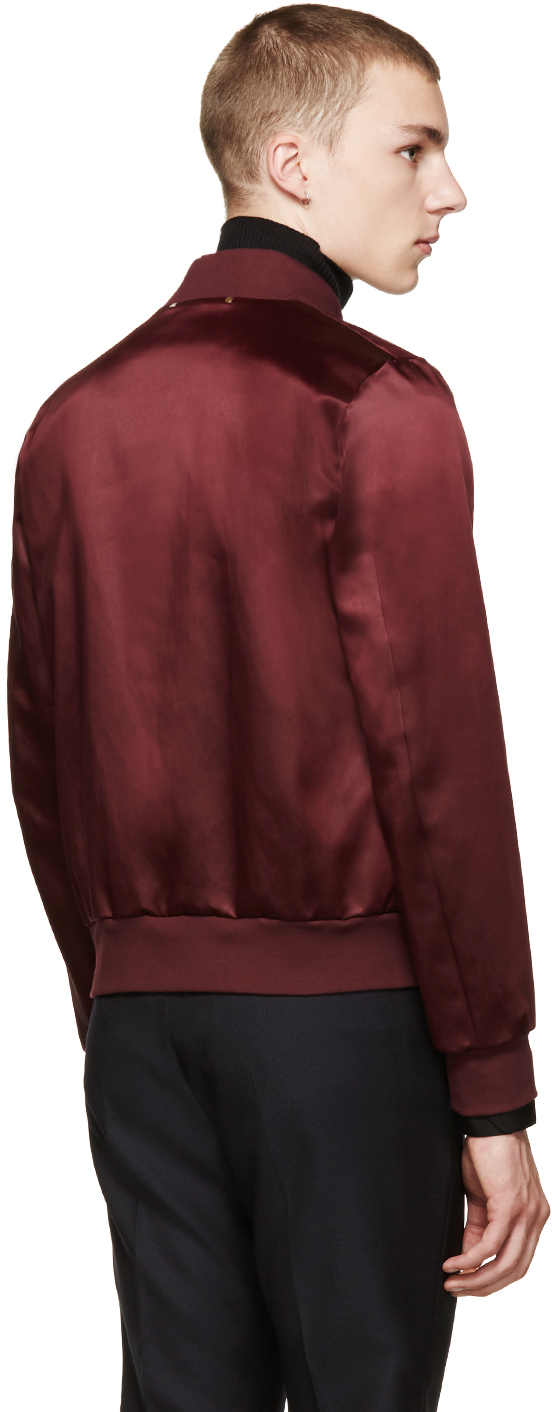 Paul Smith Oxblood Satin Bomber Jacket in Purple for Men