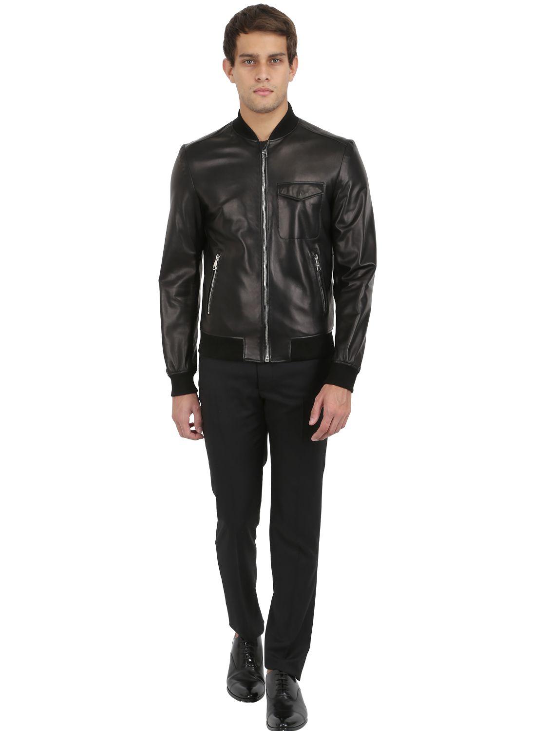 7b6ca3334 Ferragamo Black Nappa Leather Bomber Jacket for men