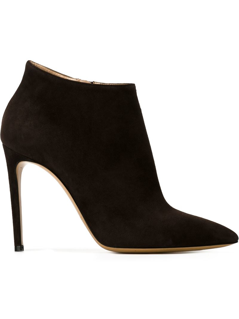 casadei pointed toe ankle boots in brown lyst