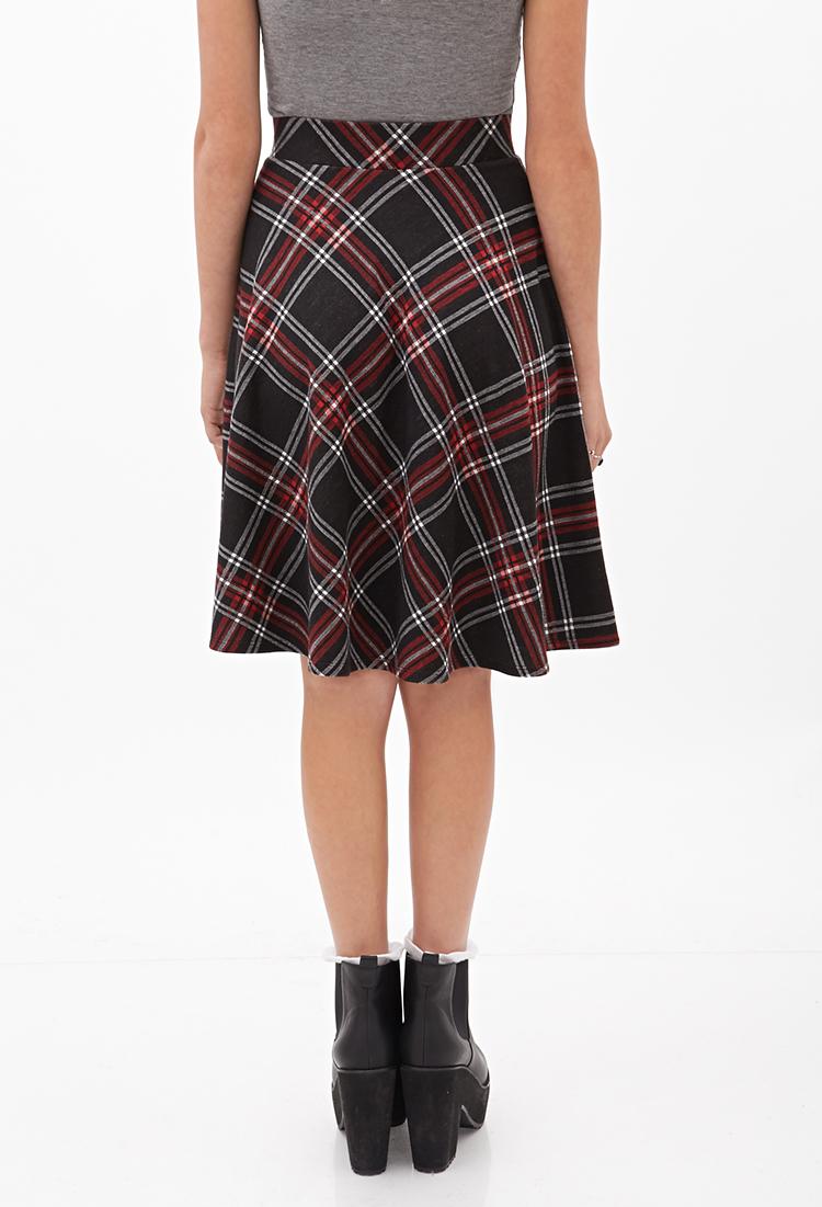 Lyst Forever 21 Diagonal Plaid Skirt In Black