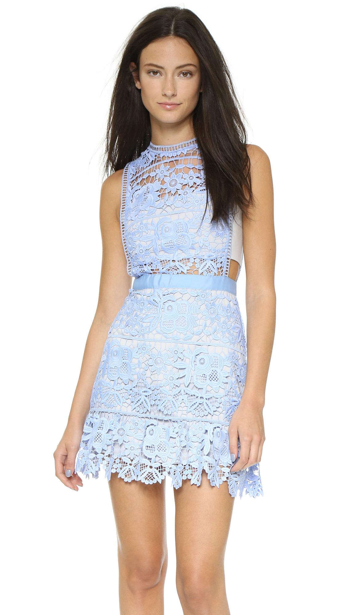 1b8396c1de3 Self-Portrait Lace Minidress - Pale Blue in Blue - Lyst