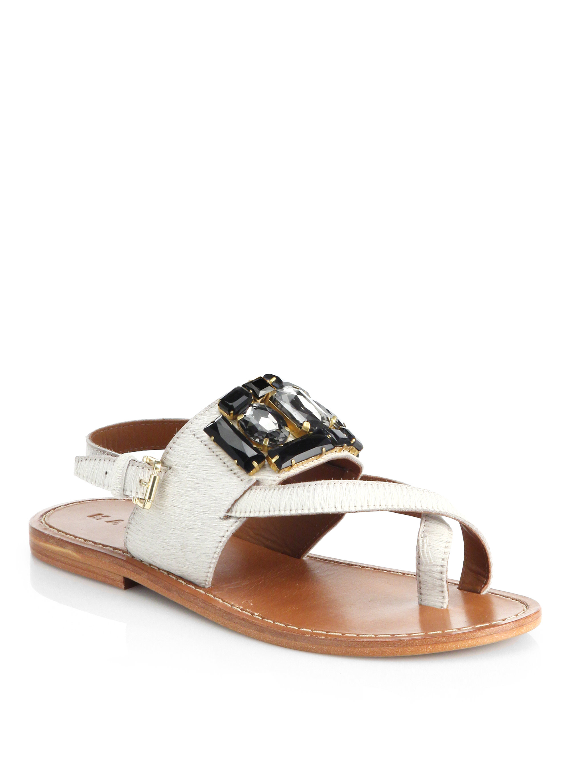 Marni Jeweled Calf Hair Toe Ring Sandals In Natural Lyst