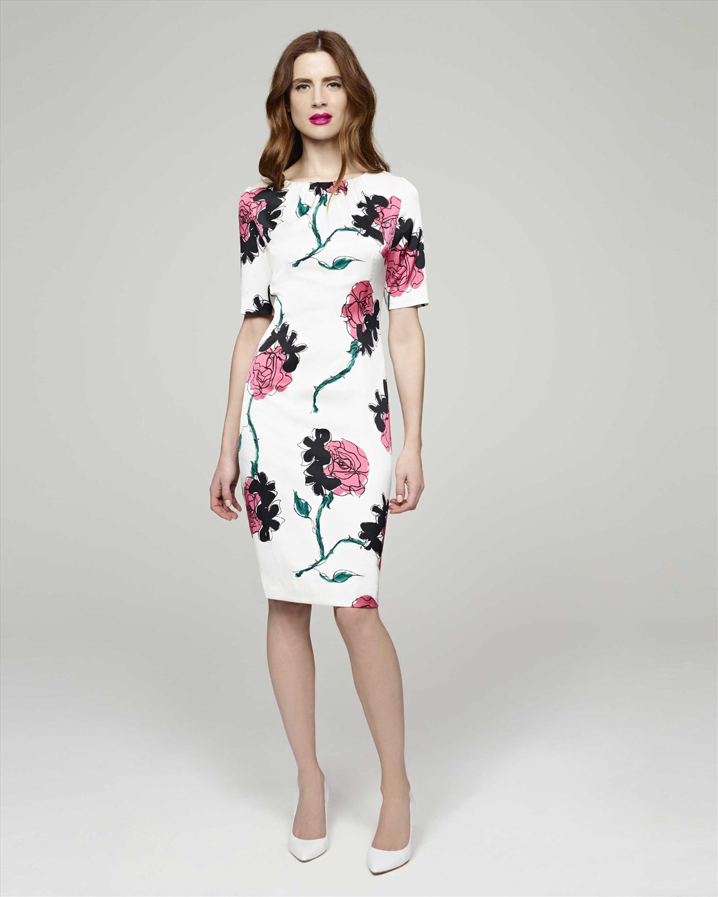Jaeger Rose Print Dress Lyst