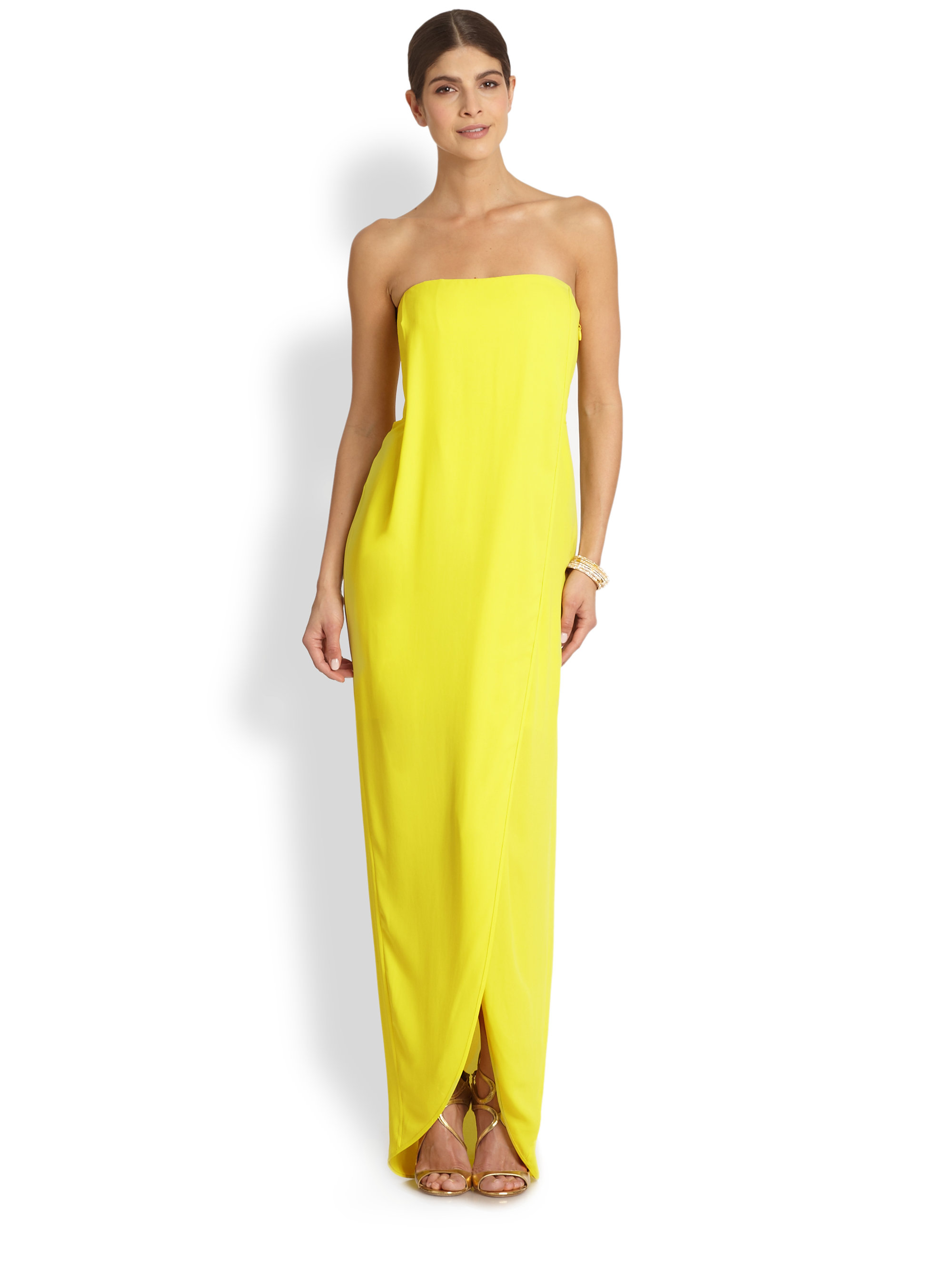9a4c37cbcc1 BCBGMAXAZRIA Jessee Strapless Draped Wrap Gown in Yellow - Lyst
