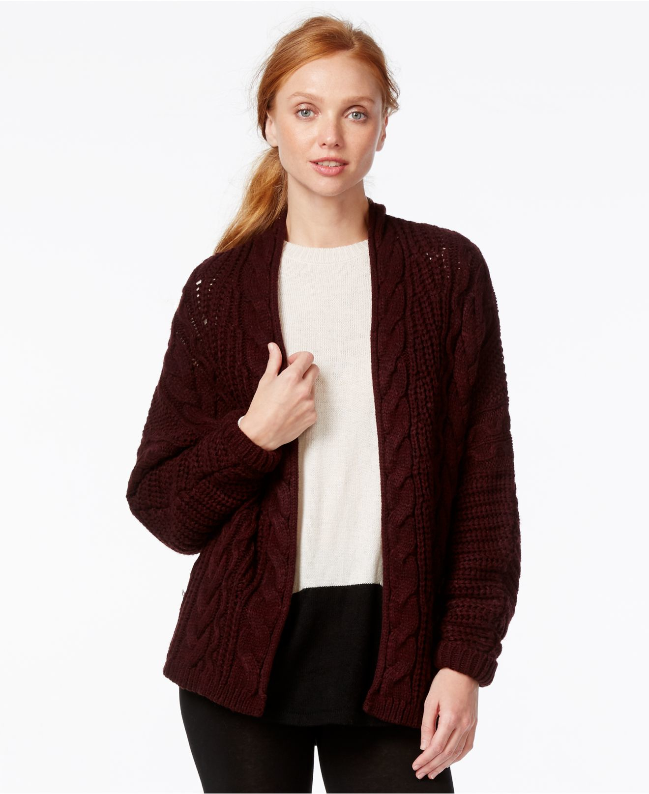 G.h. bass & co. Long-sleeve Cable-knit Cardigan in Purple | Lyst