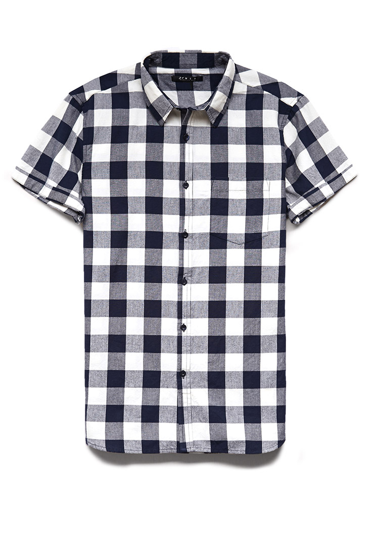 Lyst Forever 21 Buffalo Plaid Short Sleeve Shirt In Blue