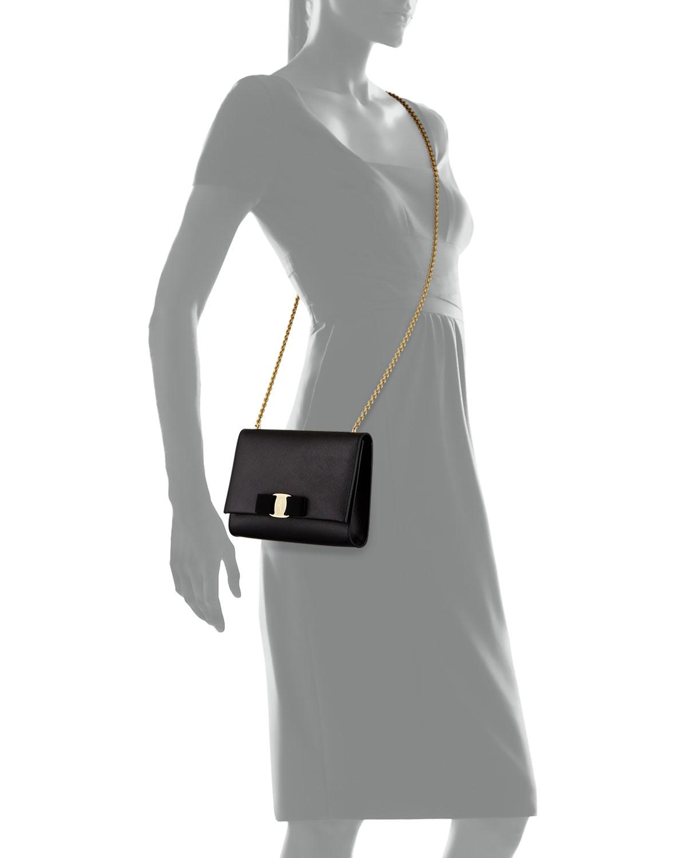 a4c773773a Lyst - Ferragamo Miss Vara Bow Clip Crossbody Bag in Black