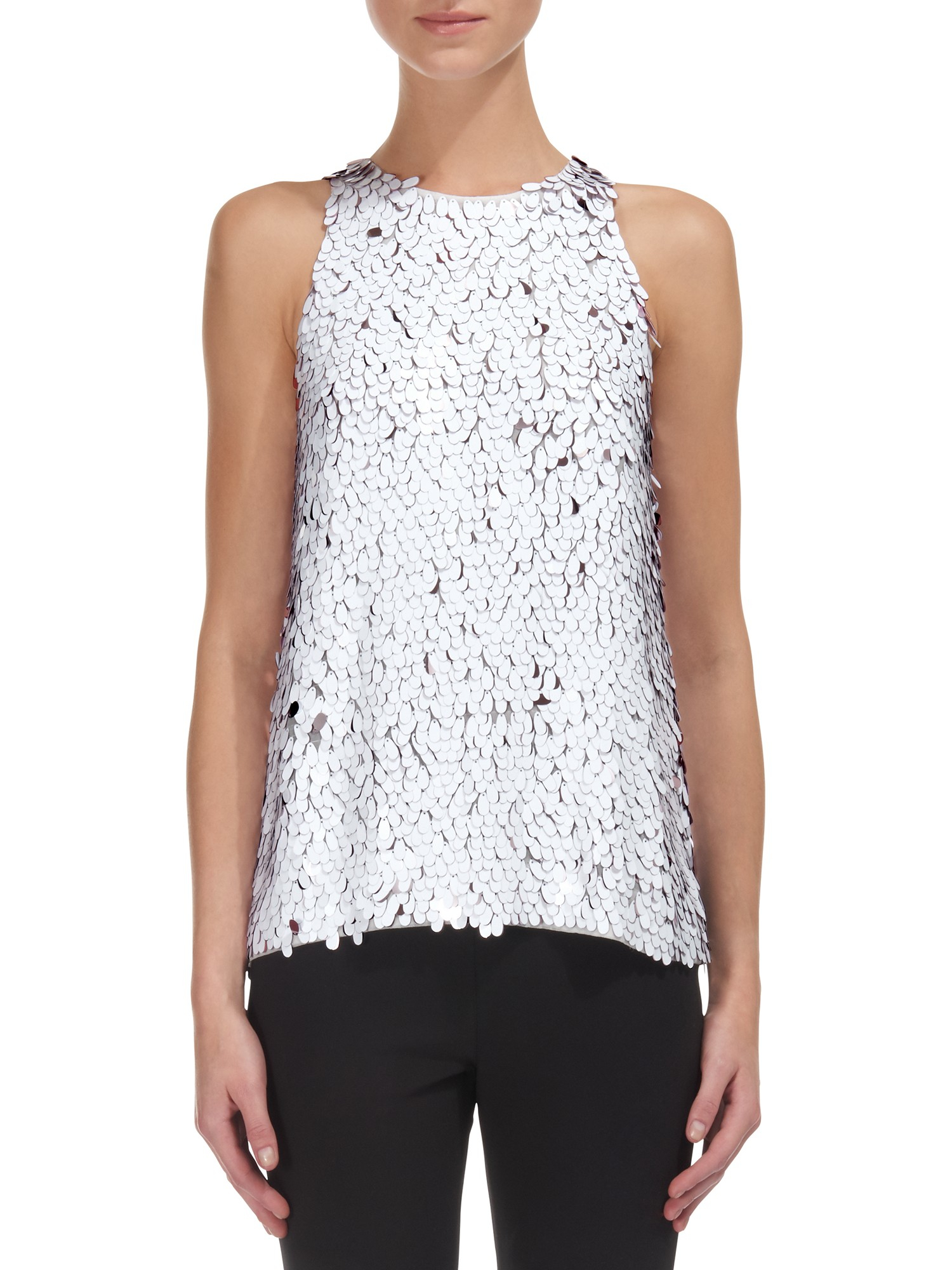 f2b7bfd785bee Whistles Oval Sequin Top in White - Lyst