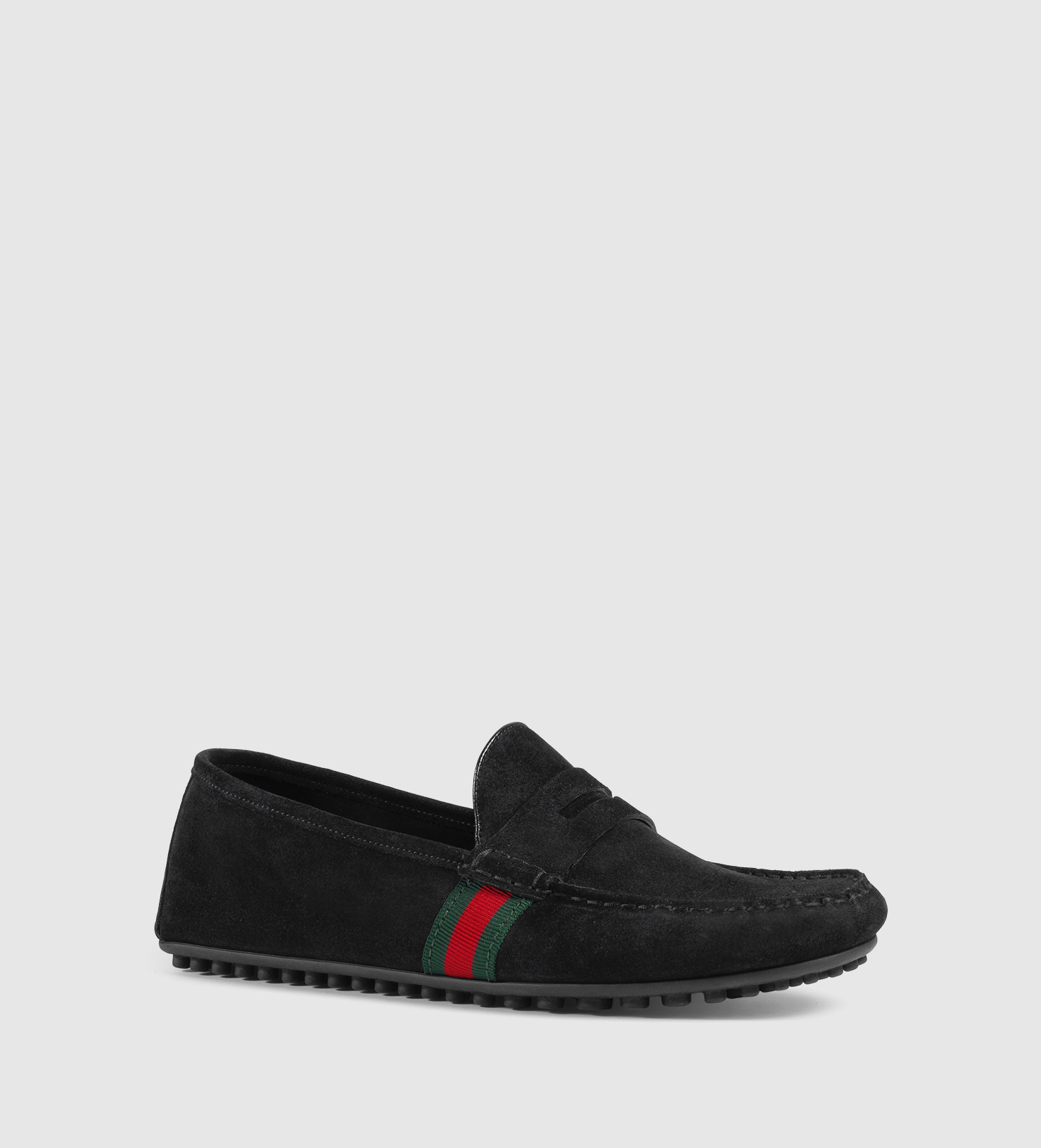 Gucci Suede Driver With Web in Black