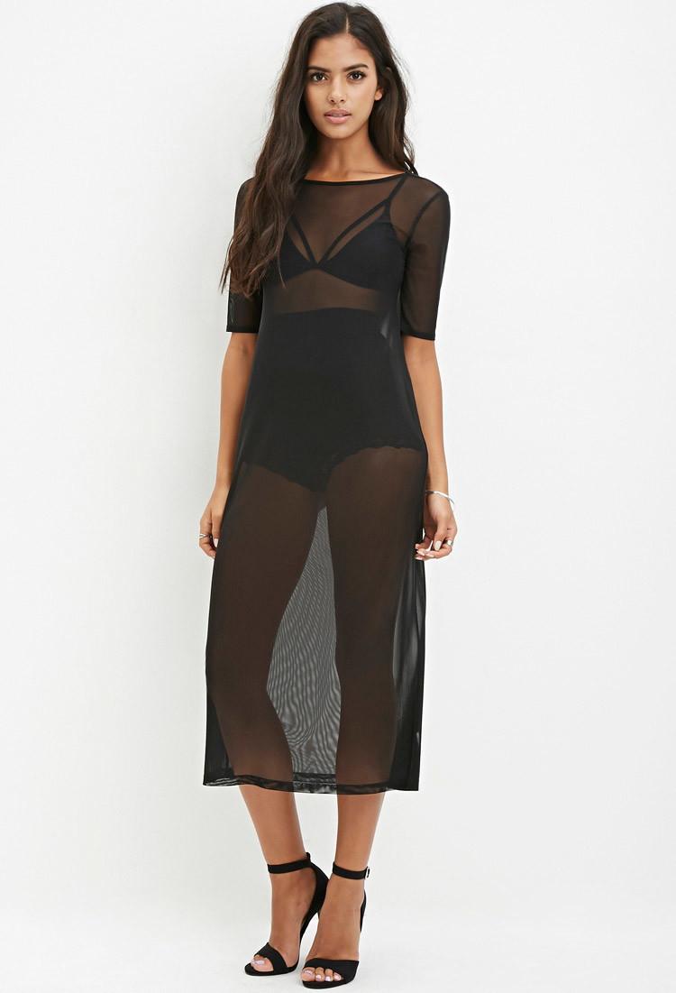 Lyst Forever 21 Sheer Mesh Midi Dress In Black