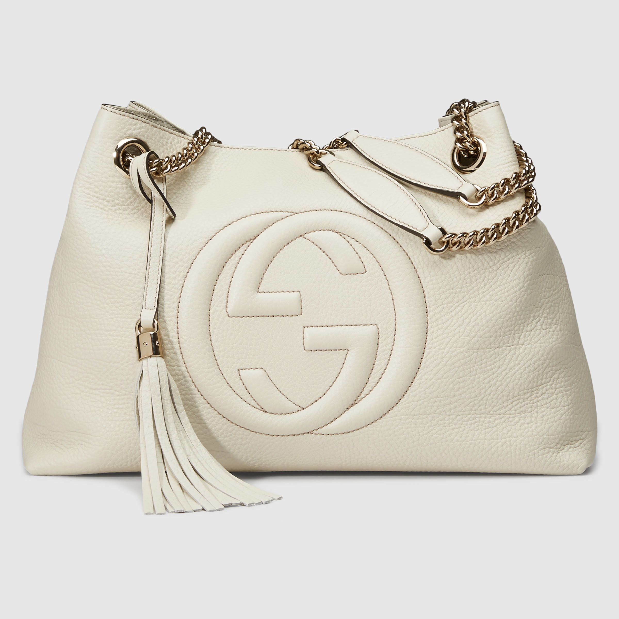 5479bdbfc1cb Gucci Soho Leather Shoulder Bag in White - Lyst