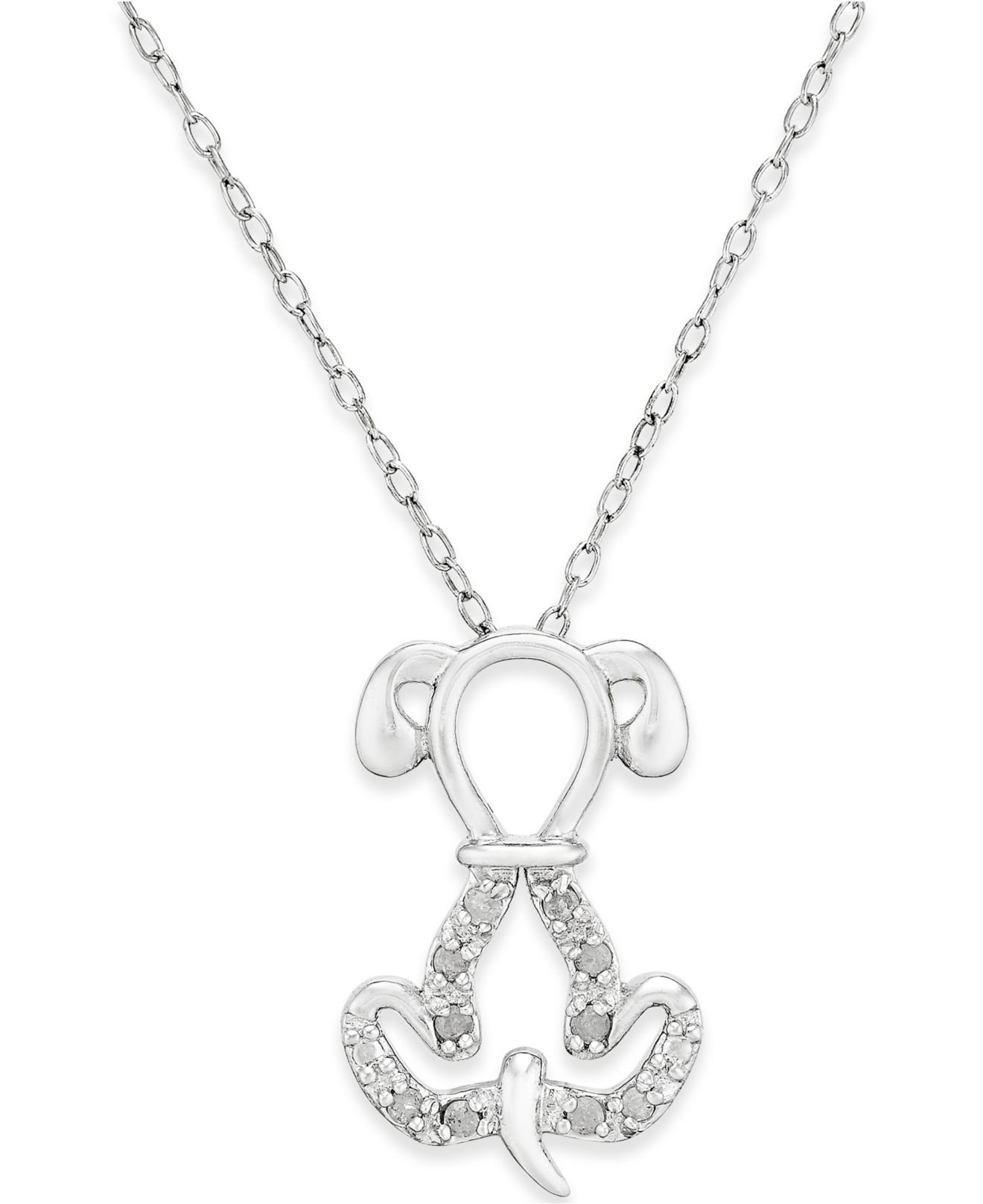 Macy s Diamond Dog Pendant Necklace 1 10 Ct T w In Sterling