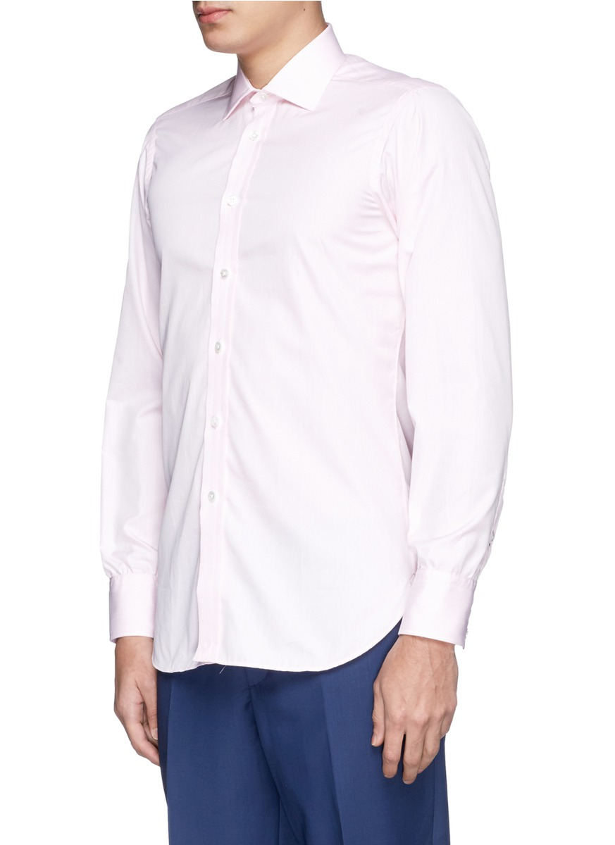 Lyst turnbull asser micro check poplin shirt in pink for What is a poplin shirt
