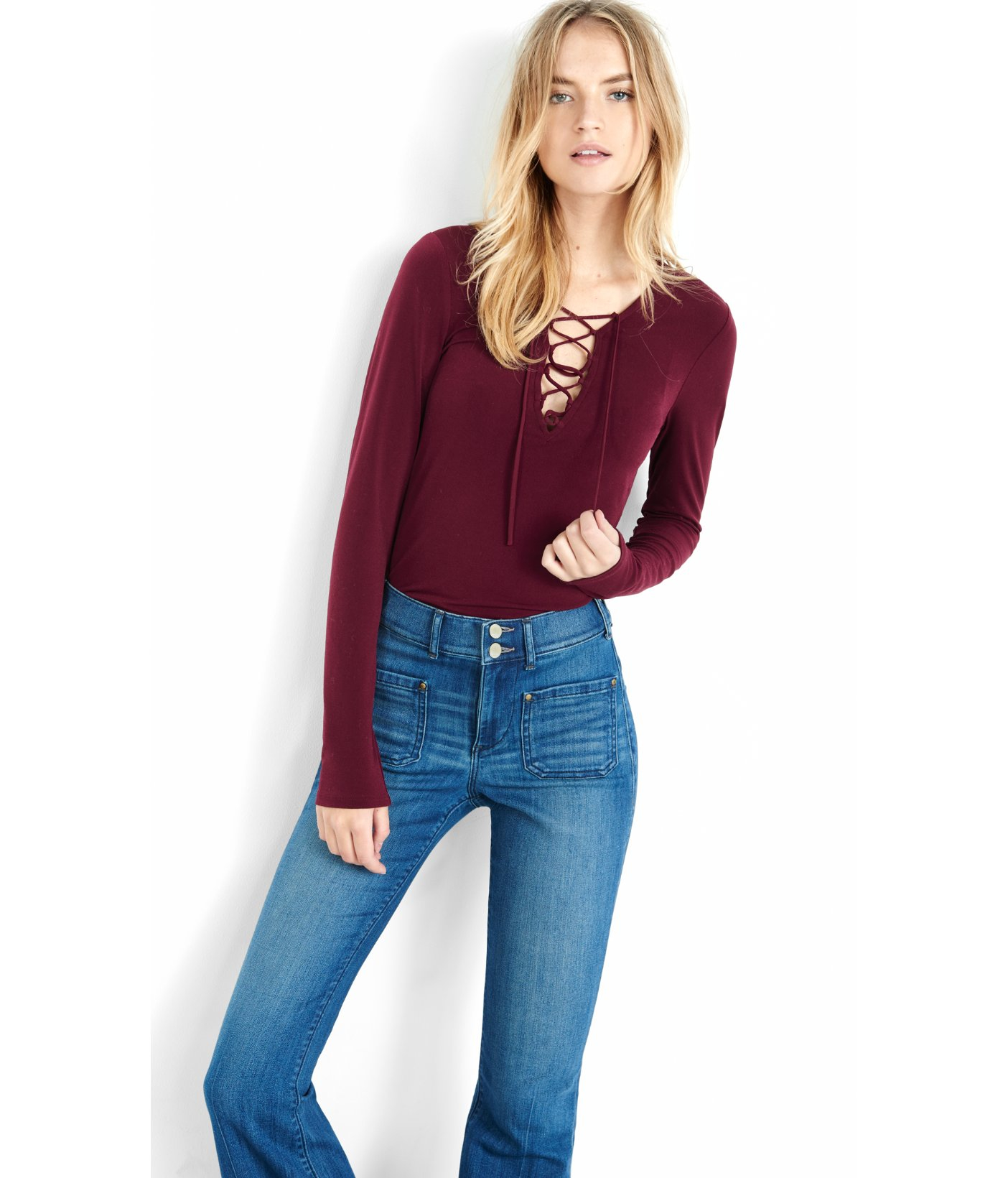 Express Long Sleeve Lace-up Front Shirt in Red | Lyst