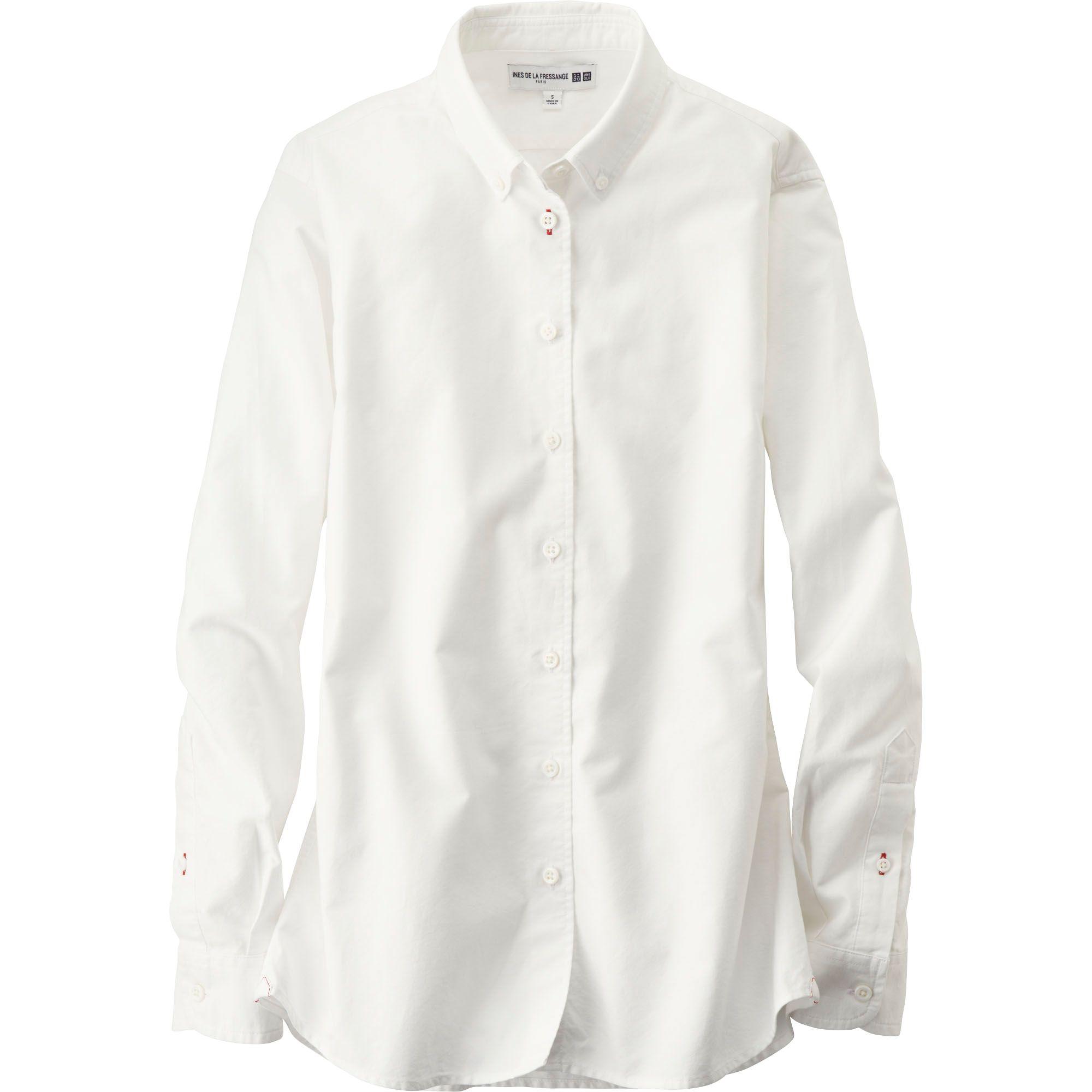 Uniqlo Women Idlf Oxford Basic Long Sleeve Shirt In White