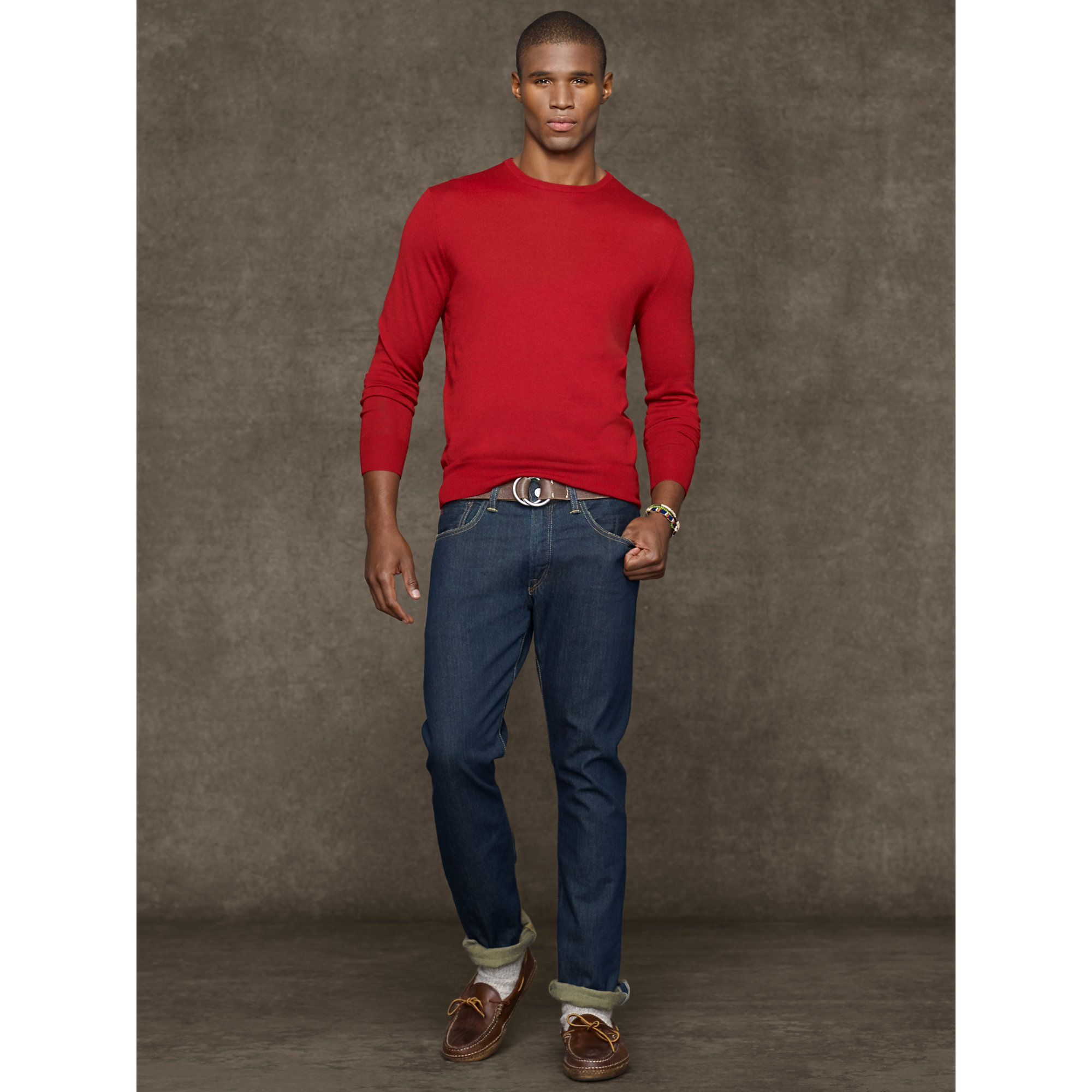 d4f5ad1ff Polo Ralph Lauren Merino Wool Crewneck Sweater in Red for Men - Lyst