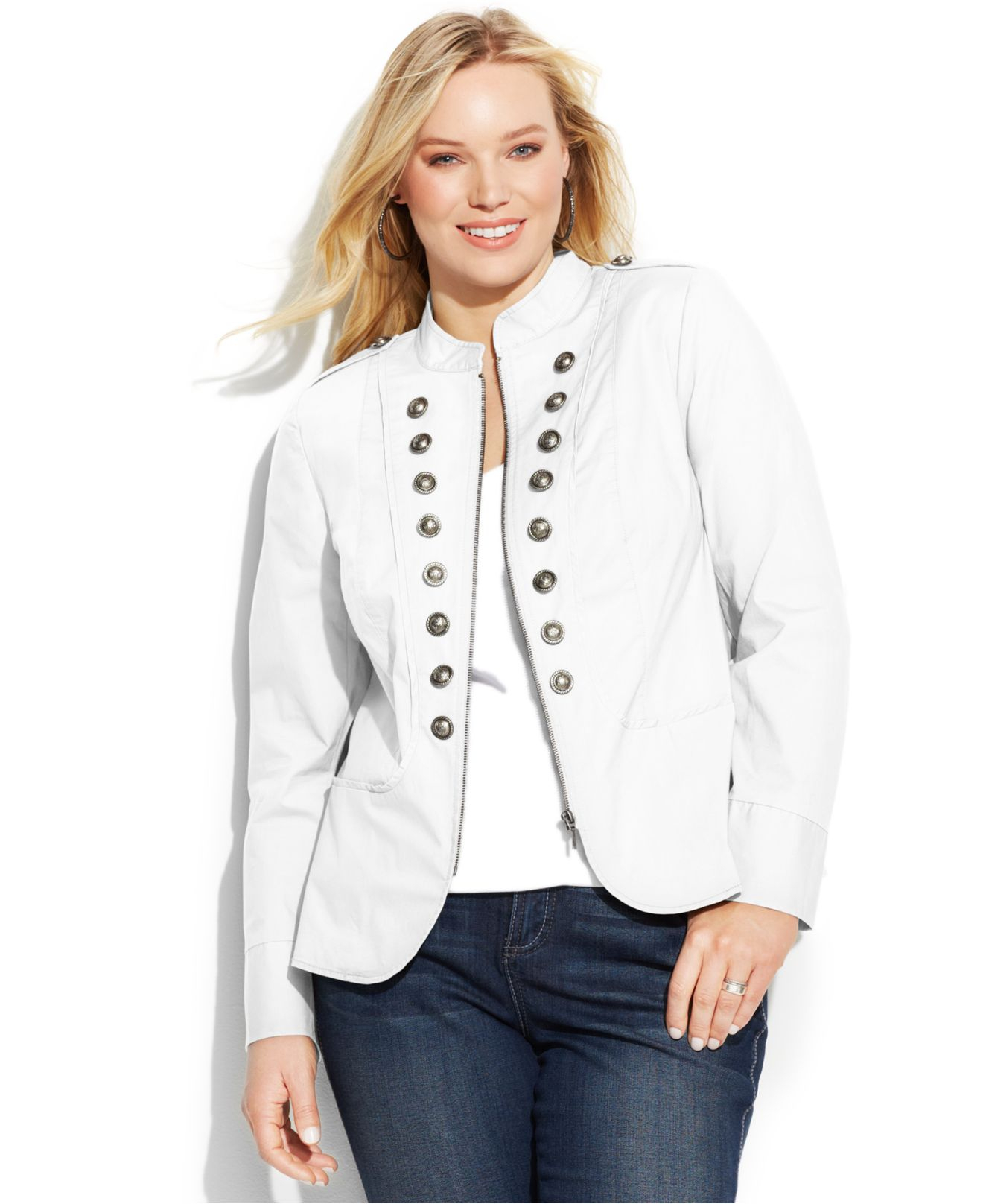 a6f9bbe661c Lyst - INC International Concepts Plus Size Zip-Front Military ...